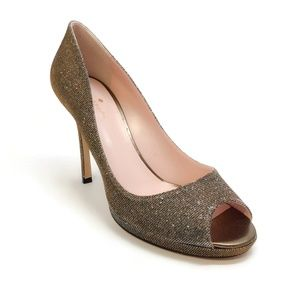 Kate Spade New York Fine Bronze Peep Toe Pump